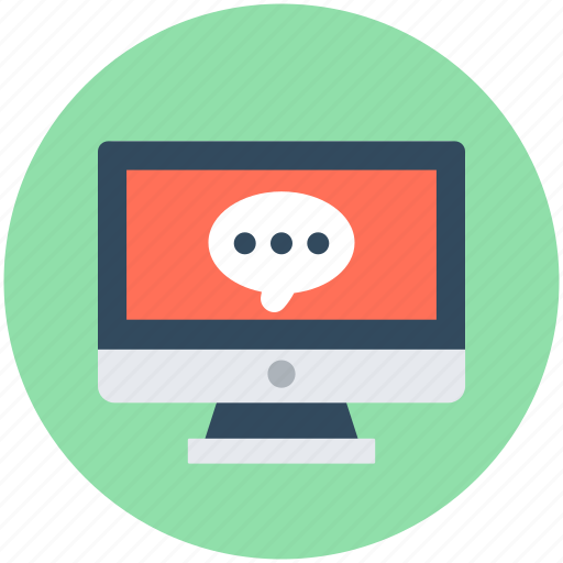 chat balloon, chat bubble, monitor, online chatting, online communication icon