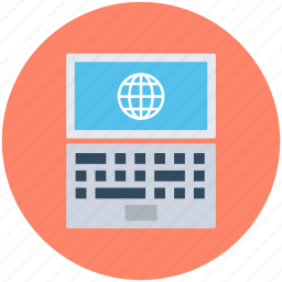 globe, internet connection, internet grid, laptop, web browsing icon