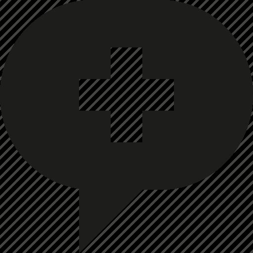 bubble, plus, talk icon