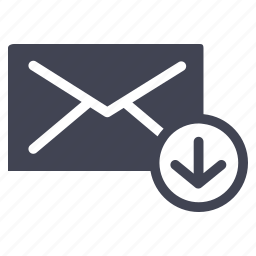 arrow, communication, down, email, message icon