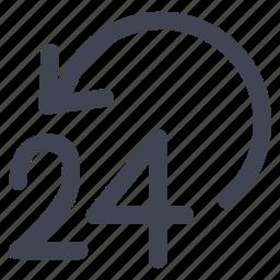 always, arrow, communication, four, hour, twenty icon