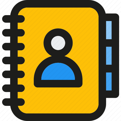 address, book, communication, contact, email, phonebook, yellow icon