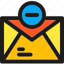 communication, delete, email, envelope, letter, mail, remove icon
