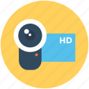 hd camcorder, hd camera, hd handycam, video camera, video recording icon