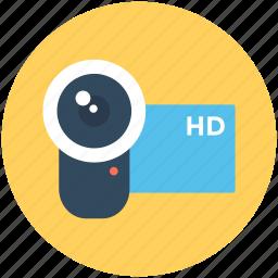 hd camcorder, hd camera, hd handycam, video camera, video recording icon