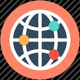 global coverage, global network, internet, planet, worldwide icon