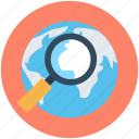 globe, internet, magnifier, web browsing, web search icon