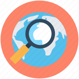 globe, internet, magnifier, web browsing, web search icon