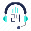 24h, communication, fast, headphone, help, support icon