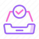 box, checklist, done, email, letter, mail, storage icon