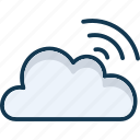 cloud computing, cloud waves, communication, connection icon