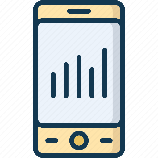graph, mobile graph, multimedia, music waves icon