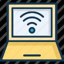 computer, internet connection, laptop, signals icon