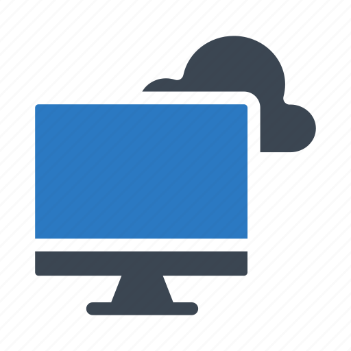 cloud, lcd, monitor, screen, server icon