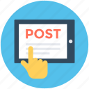 email, hand gesture, mobile, online postage, post icon