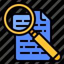 document, interpretation, research, search icon