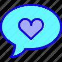 bubble, chat, comment, communication, favorite, heart, like