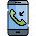 call, incoming call, received, received call icon