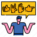 communication, deaf, finger, gesture, hand, language, message icon