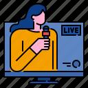 journalist, reporter, media, broadcasting, tv, news icon
