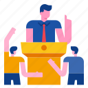 campaign, communication, podium, political, speaker, speech icon