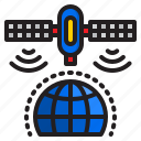 satellite, world, signal, communication, network