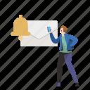 notification, alert, new, message, bell, envelope, man, reminder icon