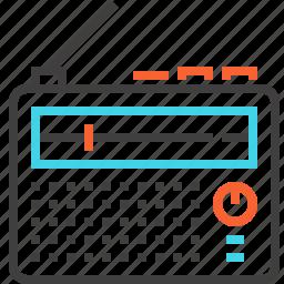 broadcast, communication, electronics, music, radio, receiver, retro icon
