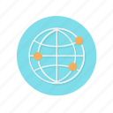 dots, global, globe, internet, network, orange, wifi icon
