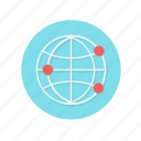 connect, dots, global, globe, internet, network, red icon
