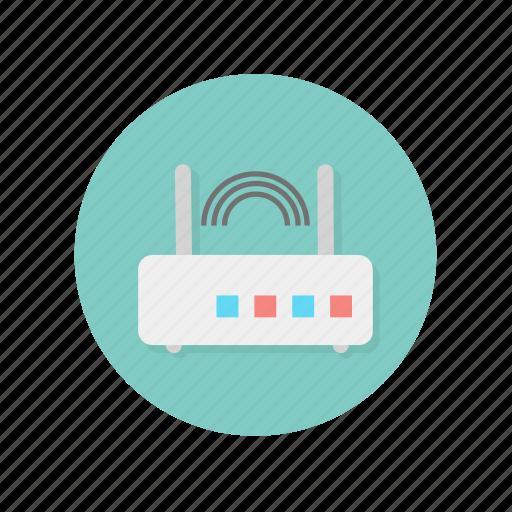 antennas, connection, modem, router, two, wifi icon