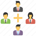 business network, collaboration, freelancers, organization, team icon