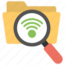 file search, folder search, wifi connection, wifi data search, wireless internet icon