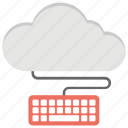cloud computing, cloud development, cloud keyboard, connect to cloud, keyboard icon