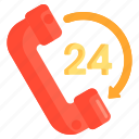 24 hours, hotline, hour, support icon