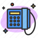 call, communication, phone, telephone, wire, wire phone icon