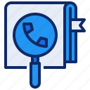 book, communication, conctact, magnifier, phone, search, telephone icon