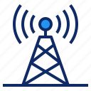 broadcast, communication, connection, radio, signal, station, tower icon