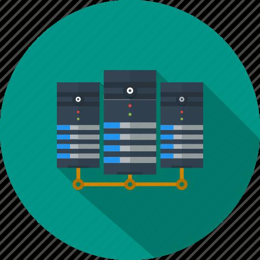 communication, data center, exchange, network, server, storage, transfer icon