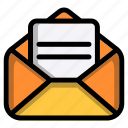 email, open, paper, message, mail, letter, envelope