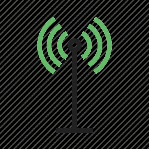 antenna, communication, radio, satellite, signals, tower, waves icon