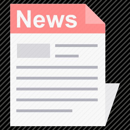 media, news, newsletter, newspaper, press, print icon