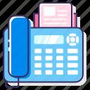 fascimile, fax, fax machine, hotline, landline, phone, telegram icon