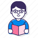 bookworm, nerd, read, reader, readership, reading icon