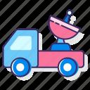 broadcast, broadcasting, news truck, news van, satellite, truck, van icon
