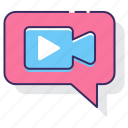 chat, live stream, live video, video, video call, video chat icon