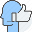 comment, communication, feedback, head, like, reaction, thumbs up icon