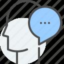 bubble, buzz, communication, head, referral, speech, spread icon
