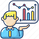 presentation skills, presentation skills icon, business analytics, financial report icon