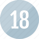 count, eighteen, number, track icon